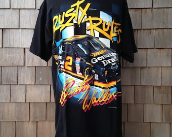 "90s vintage deadstock Rusty Wallace T shirt - ""Rusty Rules"" - XL - 1994 Nascar"