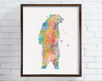 Colorful Bear, Watercolor Bear, Bear Painting, Bear Art Print, Grizzly Bear, Woodland Animals, Nursery Wall Decor, Boys Room Decor, Framed