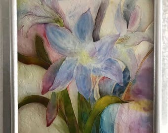 Pastel Flowers Glass Painting/Glass Art/ Hanging Art/ Framed Art/ Framed Painting/ Colourful Painting