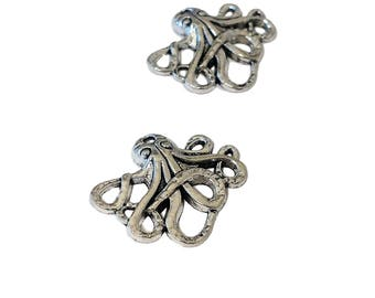 20 BULK Octopus Charms | Silver Octopus | Steampunk Octopus | Kraken Charm | Cthulhu Charm | Ready to Ship USA | AS041-20