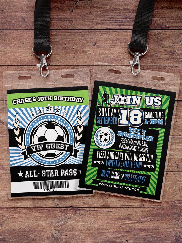 Soccer Invitation All Star Birthday VIP pass BIRTHDAY
