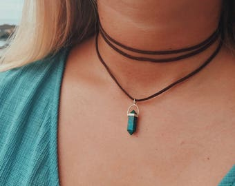 Suede Wrap Necklace with Turquoise Stone