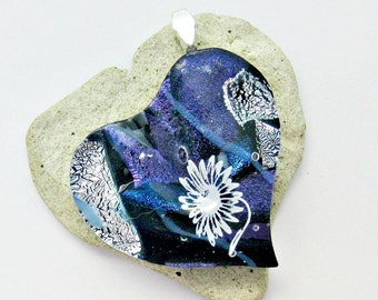 Dichroic Heart White Flower Fused Glass Pendant