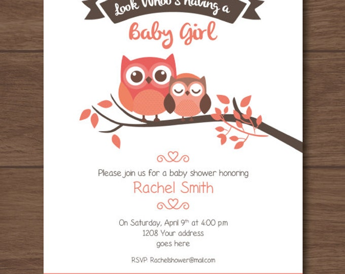 Owl Baby shower invitation, owl invites, for girls