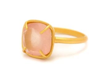 Rose Quartz in Yellow Gold Gemstone Ring - Gold Ring - Square Cushion Cut  - Gemstone Ring - Sizes 5, 6, 7, 8, 9, 10