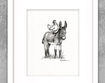 Chicken on Donkeys Back -  Minimalist - Original Painting - Pen - Ink Black White Watercolor - Nursery - Collectable Art