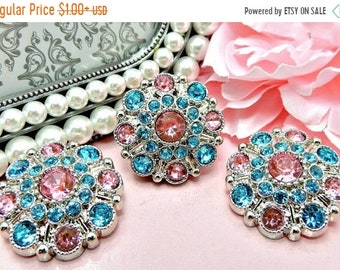 20% OFF PINK & TURQUOISE Rhinestone Buttons Dress Coat Buttons Large Vintage Style Silver Acrylic Rhinestone Buttons Garment Button 28mm 505