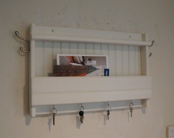 """3"""" deep (behind a door model) Handcrafted Wooden Rustic Mail & Key Organizer, Coat Rack, Letter Hook Holder, pick your color and hooks"""