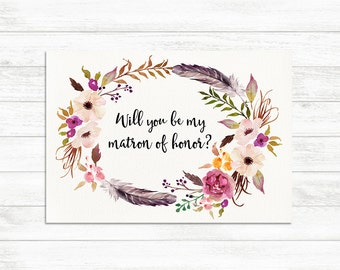 Will You Be My Matron of honor card, Floral Rustic Matron of Honor card, Matron of Honor Proposal Card, Maid of Honor card, Will you be my