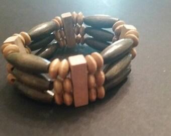 Wood Bead Bracelet Boho Tribal Beaded Stretch Jewelry