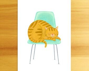 Favorite Chair - 5x7 Cat Art Print