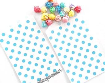 Polka Dot Favor Bag   Blue Polka Dot Favor Bags   Blue Favor Bag (5x7)   Monster birthday   Popcorn Bag   Blue Goodie Bags   Blue Candy Bags