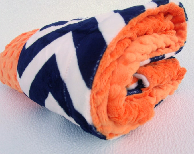 Navy Chevron with Orange Minky Baby Blanket for Baby Boy or Girl
