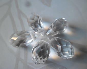 glass beads 10 x 13 x 8 mm faceted white water drop