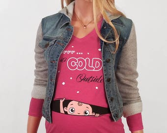 Baby It's Cold Outside, Christmas Maternity Shirt, Funny Maternity Clothing, Pregnancy Clothes, Baby Peeking