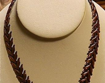 "Vintage Copper Necklace, SALE, Real Copper, Linked Leaves Necklace,"" Autumns Glow"""