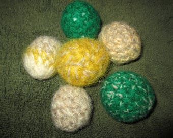 Felted Wool Cat Toy Balls Crocheted by SuzannesStitches, Handmade Wool Cat Toy Balls, Kitty Felt Toy Balls, Wool Cat Toys, Pet Toy Balls