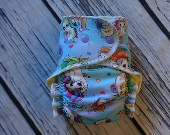 One Size Stay Dry Overnight Fitted Cloth Diaper Crazy Hair - Slight Second - by Soothe Baby