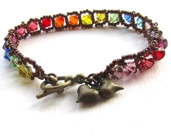 Crystal Rainbow Bracelet, Multicolour Beadwoven Bracelet, Bronze Seed Beads, Red, Orange, Green, Blue, Pink