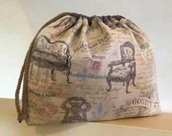 Antique Settee Reversible Project Bag