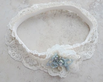 Ivory Lace Wedding Garter Something Blue - Beaded Lace Garter -  Bride's Garter - Victorian -  Ivory Lace Garter - Something Blue Garter