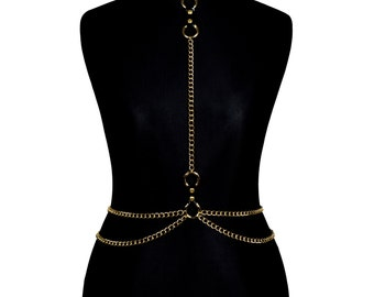 Gold Metal Body Chain Harness #IV