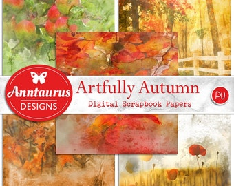 Digital Scrapbook Papers: ARTFULLY AUTUMN - Instant Download - Arty Autumn - Themed - Background Papers