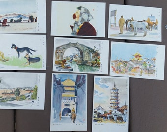 Lot of 9 Japanese Colored Postcards