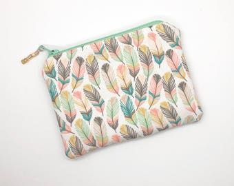 Feathers Coin Purse Gift For Her Earbud Holder Credit Card Holder Business Card Holder Zipper Pouch Gift For Women Small Zipper Case