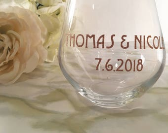 Names and Wedding Date Stemless Wine Glass