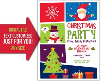 Christmas, party, holiday, market, craft fair, craft show, flyer, invite, printable, poster, personalized, customized, invitation, postcard