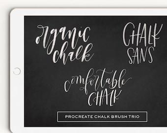 Chalk Brush Trio Procreate Brush Lettering Calligraphy iPad Pro Digital