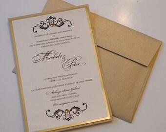 Gold Foil Invitations, Gold Foil Invitation, Black and gold wedding Invitations, Baroque Wedding Invitations, wedding invitations, invites