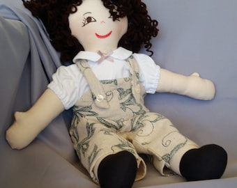Old fashioned 15 inch cloth doll, with hair and eyes of your choice, comes dressed in beige overalls and matching shirt