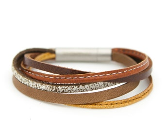 Multi-strand leather cuff, brown cuff bracelet, tan leather bracelet - the XYZ Cuff