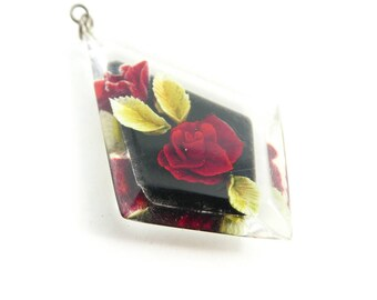 Vintage Lucite, Rose Pendant, Clear, Red Flower, STE106