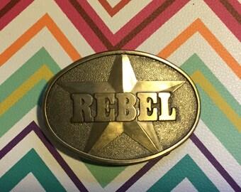 Vintage rj Brass REBEL over Star Belt Buckle