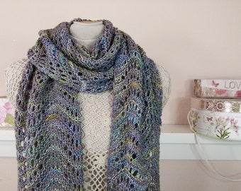 "Hand Knit Ripple Scarf or Shawl - Luxury Merino Scarf in Traditional Scottish Style - ""Blue Waters"" - Item 1578"