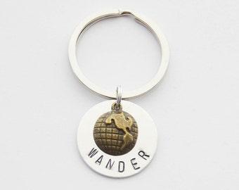 Wander Keychain, Graduate Gifts, Travel Keychain, Wander Jewelry, Globe Keychain, Travel Accessories, Grad Keychains, Hand-stamped Keychain