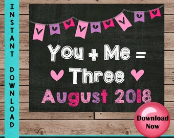 Valentine's Day Pregnancy Announcement Sign, You Plus Me Equals Three, Baby Photo Props, Two Months Included
