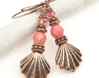 Beach Jewelry for Summer - Antique Copper Earrings Sea Shell Seashell Earrings - Rose Pink and Copper Jewelry Tropical Ocean Gift for Women