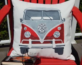 """Outdoor pillow VW CAMPERVAN vintage  splittie surfer 20x20"""" Volkswagen camper split window hand painted choose color Crabby Chris™ Original"""