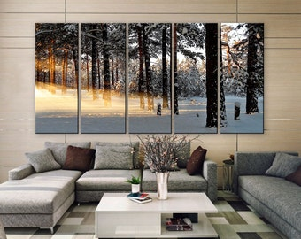 """LARGE 30""""x 60"""" 5 Panels Art Canvas Print beautiful Winter light rays nature tree Wall Home Decor interior (Included framed 1.5"""" depth)"""