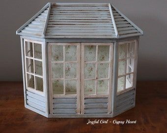 Shabby Little 1:12 Scale Sun Room Porch Garden Shed