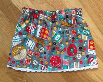 Baby Girls Sewing Skirt-Toddler Girls Sewing Skirt- Retro Vintage Sewing Outfit- Baby Craft Skirt- Cute Baby Skirt- Baby Elastic Skirt