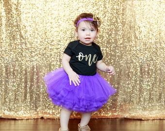 First Birthday Outfit Girl, Purple Gold Tutu Girl First Birthday Outfit, Birthday Shirt, Purple Birthday Tutu, Cake Smash Outfit