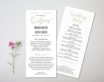 Wedding Program Template - Printable Wedding Program - Editable Wedding Program - Instant Download - Ms word