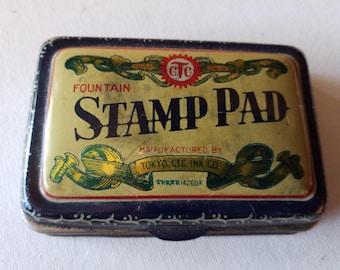Vintage ink stamp pad tin