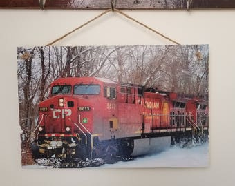 Wall Hanging/ Wall Art Photo Transfer to Wood: Snowy Train plaque