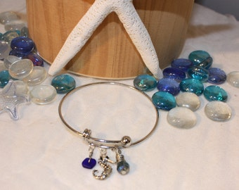 Sea Glass and Seahorse Beachy Bangle Bracelet